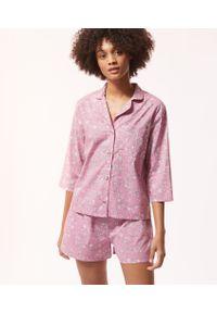 Różowa piżama Etam w kwiaty, krótka