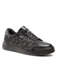 Badura - Sneakersy BADURA - 3576 Czarny 698. Okazja: na co dzień. Kolor: czarny. Materiał: skóra. Styl: sportowy, casual
