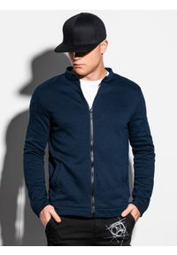 Ombre Clothing - Bluza męska rozpinana bez kaptura B1071 - granatowa - XXL. Typ kołnierza: bez kaptura. Kolor: niebieski. Materiał: poliester, bawełna