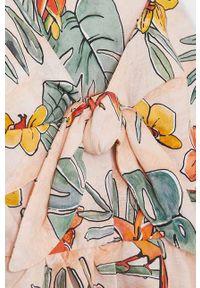 Pomarańczowa sukienka Mayoral na ramiączkach, rozkloszowana, z dekoltem karo, w kwiaty