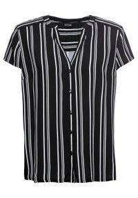 Bluzka z krótkim rękawem bonprix czarno-biały w paski. Kolor: czarny. Długość rękawa: krótki rękaw. Długość: krótkie. Wzór: paski