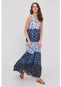 Pepe Jeans - Sukienka Mariolas. Okazja: na co dzień. Materiał: dzianina. Długość rękawa: krótki rękaw. Typ sukienki: proste. Styl: casual