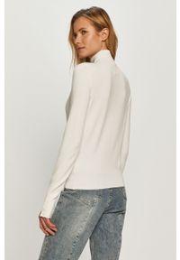 Biały sweter Miss Sixty z długim rękawem, z golfem, casualowy, długi