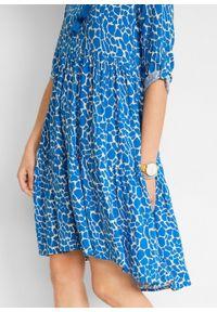 Sukienka koszulowa LENZING™ ECOVERO™ bonprix beżowoszaro-lazurowy w cętki leoparda. Kolor: szary. Materiał: wiskoza. Wzór: nadruk. Typ sukienki: koszulowe