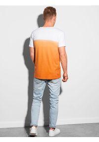 Ombre Clothing - T-shirt męski bawełniany S1380 - pomarańczowy - XXL. Kolor: pomarańczowy. Materiał: bawełna. Sezon: lato