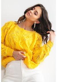 Fobya - Kardigan o Ażurowym Splocie - Żółty. Kolor: żółty. Materiał: wełna, akryl, poliamid. Wzór: ze splotem, ażurowy