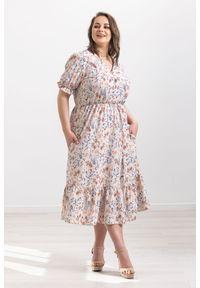 Beżowa sukienka Moda Size Plus Iwanek na wiosnę, klasyczna