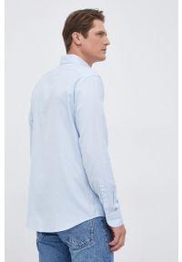 Eton - ETON - Koszula. Okazja: na co dzień. Typ kołnierza: button down. Kolor: niebieski. Materiał: tkanina. Długość rękawa: długi rękaw. Długość: długie. Wzór: gładki. Styl: casual