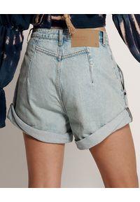 ONETEASPOON - Spodenki Kansas Streetwalkers. Stan: podwyższony. Kolor: niebieski. Materiał: bawełna, jeans. Wzór: aplikacja. Sezon: lato. Styl: vintage