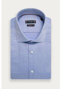 Niebieska koszula Tommy Hilfiger Tailored na co dzień, casualowa, z włoskim kołnierzykiem
