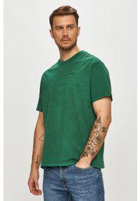 Zielony t-shirt Levi's® gładki, casualowy, na co dzień