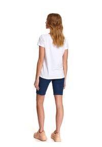 Biały t-shirt DRYWASH z nadrukiem, z krótkim rękawem, casualowy