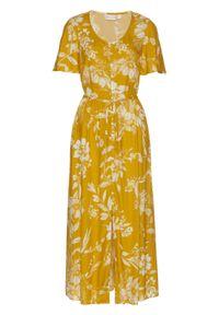 Brązowa sukienka bonprix w kwiaty, maxi