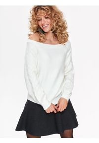 Biały sweter TOP SECRET elegancki, na zimę