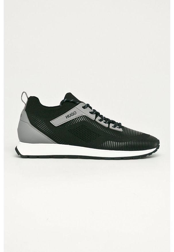 Czarne sneakersy Hugo na sznurówki, z okrągłym noskiem, z cholewką