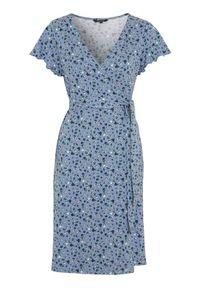 Happy Holly Sukienka kopertowa z dżerseju Amanda błękitny w kwiaty female niebieski/ze wzorem 52/54. Kolor: niebieski. Materiał: jersey. Długość rękawa: krótki rękaw. Wzór: kwiaty. Typ sukienki: kopertowe