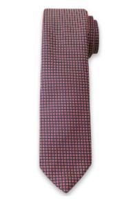 Krawat Męski w Drobne Kwadraciki, Figury Geometryczne - 6 cm - Alties, Różowy. Kolor: czerwony. Materiał: tkanina. Wzór: geometria. Styl: wizytowy, klasyczny, elegancki
