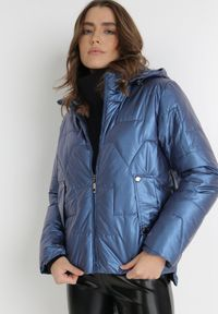 Born2be - Niebieska Kurtka Tenerin. Typ kołnierza: kaptur. Kolor: niebieski. Długość: długie