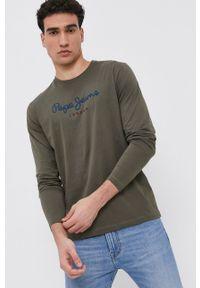 Pepe Jeans - Longsleeve Eggo. Kolor: zielony. Materiał: dzianina. Długość rękawa: długi rękaw. Wzór: nadruk
