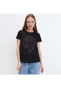 Mohito - Koszulka z błyszczącą aplikacją - Czarny. Kolor: czarny. Wzór: aplikacja