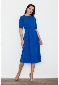 e-margeritka - Sukienka rozkloszowana midi niebieska - m. Okazja: do pracy, na spotkanie biznesowe. Kolor: niebieski. Materiał: wiskoza, materiał, poliester. Styl: biznesowy, elegancki. Długość: midi