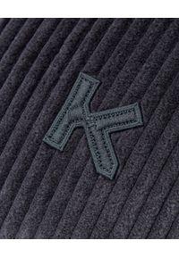 Kenzo - KENZO - Grafitowa kurtka sztruksowa. Okazja: do pracy, na spacer. Kolor: szary. Materiał: sztruks. Długość rękawa: długi rękaw. Długość: długie. Wzór: aplikacja. Styl: elegancki