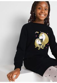 Sukienka dresowa dziewczęca z bawełny organicznej bonprix czarny. Kolor: czarny. Materiał: bawełna, dresówka. Wzór: nadruk