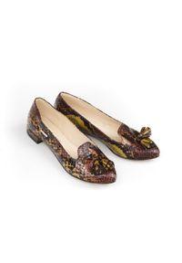 Zapato - balerinki w szpic - skóra naturalna - model 045 - kolor kolorowy wąż. Zapięcie: bez zapięcia. Materiał: skóra. Wzór: kolorowy. Obcas: na obcasie. Styl: klasyczny. Wysokość obcasa: średni