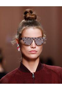 Białe okulary przeciwsłoneczne Fendi z aplikacjami