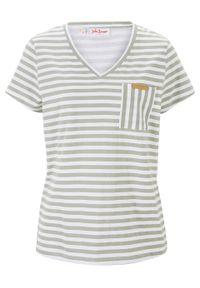 T-shirt w paski bonprix dymny zielony - biały w paski. Okazja: na co dzień. Kolor: zielony. Wzór: paski. Styl: casual