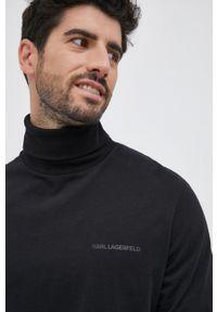 Karl Lagerfeld - Longsleeve bawełniany. Okazja: na co dzień. Typ kołnierza: golf. Kolor: czarny. Materiał: bawełna. Długość rękawa: długi rękaw. Wzór: nadruk. Styl: casual