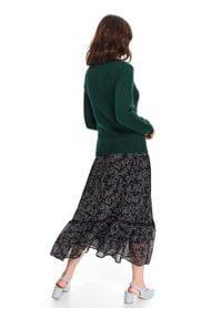 TOP SECRET - Sweter długi rękaw damski dopasowany. Kolor: zielony. Długość rękawa: długi rękaw. Długość: długie. Sezon: wiosna