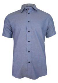 Niebieska elegancka koszula Jurel krótka, do pracy, z krótkim rękawem