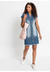 Sukienka dżinsowa mini z guzikami bonprix niebieski denim. Kolor: niebieski. Materiał: denim. Długość: mini