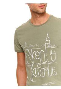 Brązowy t-shirt TOP SECRET z krótkim rękawem, na co dzień, krótki, na wiosnę