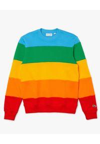 Lacoste - LACOSTE - Bawełniana tęczowa bluza. Kolor: czerwony. Materiał: bawełna. Wzór: haft, kolorowy, aplikacja. Sezon: wiosna. Styl: klasyczny, sportowy