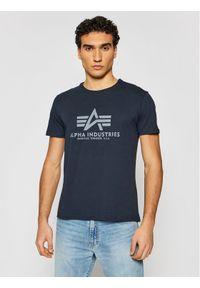 Alpha Industries T-Shirt Basic 100501 Granatowy Regular Fit. Kolor: niebieski