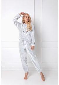 Szara piżama Aruelle długa, z aplikacjami