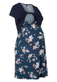 Sukienka ciążowa i do karmienia piersią w kwiaty bonprix ciemnoniebieski w kwiaty. Kolekcja: moda ciążowa. Kolor: niebieski. Materiał: materiał. Wzór: kwiaty. Sezon: lato
