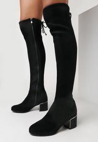 Born2be - Czarne Kozaki Kydiche. Wysokość cholewki: za kolano. Nosek buta: okrągły. Zapięcie: zamek. Kolor: czarny. Szerokość cholewki: normalna. Obcas: na obcasie. Wysokość obcasa: niski