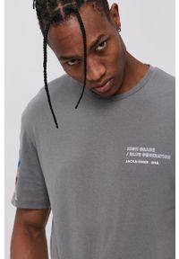 Jack & Jones - T-shirt bawełniany. Kolor: szary. Materiał: bawełna. Wzór: nadruk
