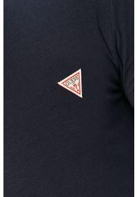 Niebieska koszulka z długim rękawem Guess na co dzień, casualowa