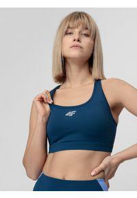 4f - Biustonosz treningowy. Kolor: niebieski. Materiał: satyna. Sport: fitness, bieganie
