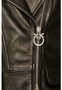 Czarna kurtka Pinko klasyczna, z klasycznym kołnierzykiem, na co dzień