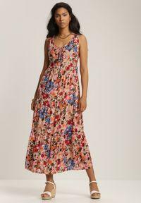 Renee - Jasnobeżowa Sukienka Marydeia. Kolor: beżowy. Długość rękawa: na ramiączkach. Wzór: kwiaty, aplikacja. Długość: maxi