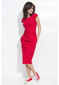 Makadamia - Czerwona Sukienka Bombka Midi z Rękawkiem. Kolor: czerwony. Materiał: bawełna, poliester, elastan. Długość rękawa: krótki rękaw. Typ sukienki: bombki. Długość: midi