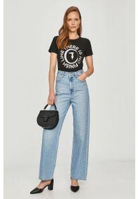 Czarna bluzka Trussardi Jeans z nadrukiem, casualowa, na co dzień