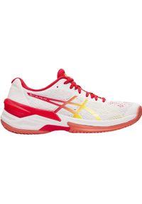 Białe buty do siatkówki Asics w kolorowe wzory, z cholewką