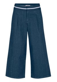 Dżinsy culotte z gumką w talii bonprix ciemnoniebieski. Kolor: niebieski