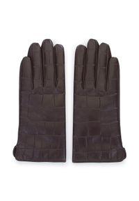 Wittchen - Damskie rękawiczki ze skóry croco. Kolor: brązowy. Materiał: skóra. Wzór: gładki, aplikacja. Styl: elegancki, casual